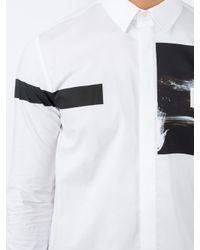 Neil Barrett - White Block Stripe And Graphic Print Shirt for Men - Lyst