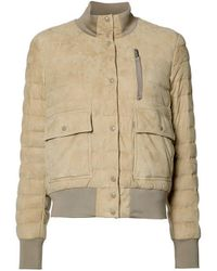 Moncler Natural Sile Quilted Suede Jacket