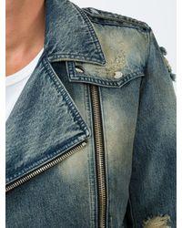Balmain Blue Biker Denim Jacket for men