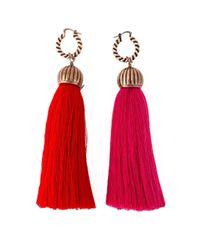 Lanvin - Red Tassel Earrings - Lyst