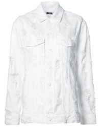 Alexander Wang | White Daze Scratch Oversized Denim Jacket | Lyst