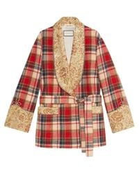 Gucci Red Plaid Wool Jacket With Embroidery