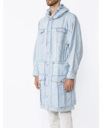 Balmain Blue Denim Long Coat for men