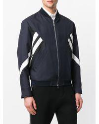 Neil Barrett Blue Striped Bomber Jacket for men