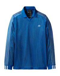 Alexander Wang Blue Mesh Long Sleeve Polo Shirt for men
