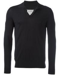 Maison Margiela Black Knitted Polo Shirt for men