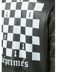 Enfants Riches Deprimes Black Chess Print Biker Jacket for men