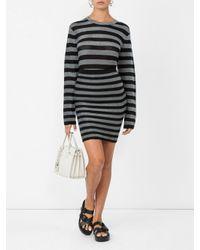 Alexander Wang Black Lurex Striped Knit Pencil Skirt