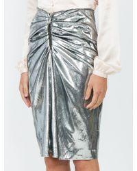 Saint Laurent Multicolor Metallic Ruched Mini Skirt