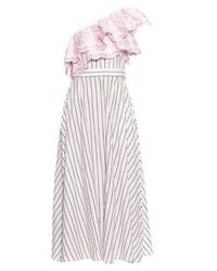 Gül Hürgel Multicolor One Shoulder Ruffle-trimmed Striped Dress