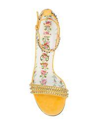 Gucci Metallic Ilse Crystal Embellished Sandal