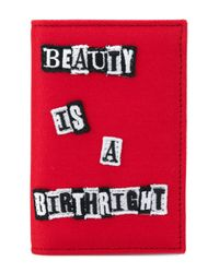"""Valentino Red """"beauty Is A Birthright Reclaim Your Heritage"""" Wallet for men"""