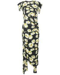 Marni | Multicolor Floral Print Draped Dress | Lyst