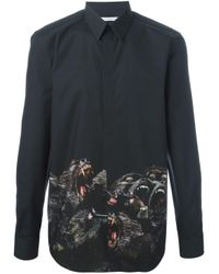 Givenchy Black Cuban Fit Baboon Print Shirt for men