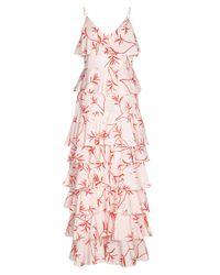 Borgo De Nor Pink Tiered Frill Dress