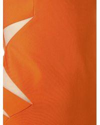 Mugler Orange Cut Out Detail Dress