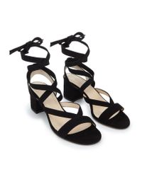 The White Company - Black Suede Wrap Around Sandals - Lyst