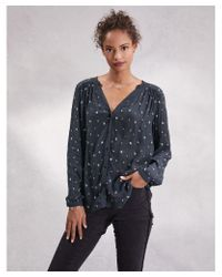 The White Company Multicolor Embroidered Notch Neck Blouse