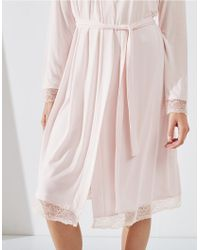 The White Company - Pink Lace Trim Robe - Lyst
