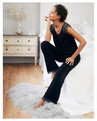 The White Company Blue Contrast-lace Pajama Set