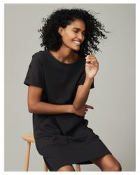 The White Company Black Jersey Button-shoulder Cocoon Dress