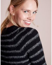 The White Company Black Wool-rich Sequin Stripe Sweater