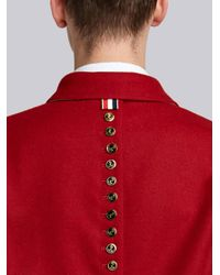 Thom Browne - Red Button-back Pilot Cloth Melton Golf Jacket for Men - Lyst