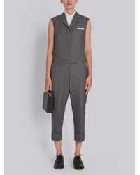 Thom Browne Gray Sleeveleshort Sleeve Notch Collar Jumpsuit In Super 120's Twill