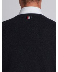 Thom Browne - Iconic Stripe Classic Black Knit Crew Neck Jumper for Men - Lyst