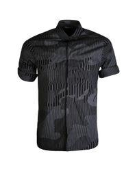 Neil Barrett Camouflaged Pinstripe Short Sleeved Shirt Black for men