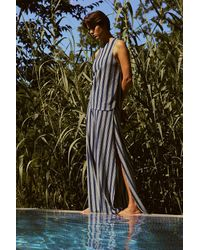 Three Graces London Blue Filippa Dramatic Slit Side Striped Jersey High-waisted Trousers