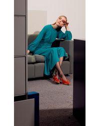 Tibi Blue Savanna Crepe Ruffle Dress