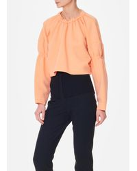Tibi Multicolor Sculpted Knit Shirred Sweatshirt