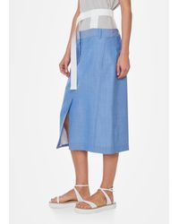 Tibi - Blue Serge Suiting Trouser Skirt With Removable Corset Belt - Lyst