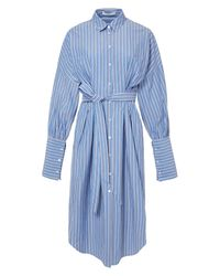 Tibi Blue Garcon Striped Shirtdress With Wide Cuff