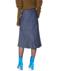 Tibi Blue Raw Denim Midi Skirt