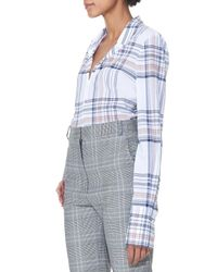 Tibi Blue Plaid Shirting With French Cuffs