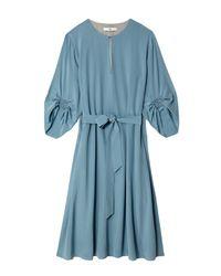 Tibi | Blue Silk Split-neck Dress | Lyst