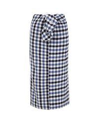 Tibi Blue Fairfax Gingham Tie Front Skirt