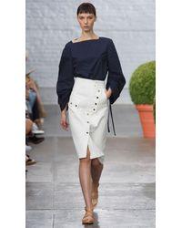 Tibi Blue Urban Stretch Snap Skirt