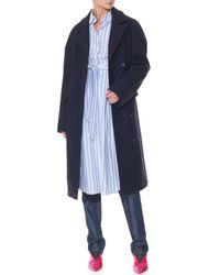 Tibi Blue Felted Wool Drop Shoulder Corset Coat