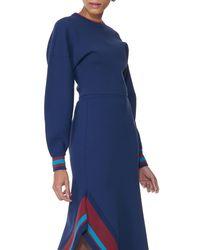 Tibi Blue Jacquard Knit Pullover