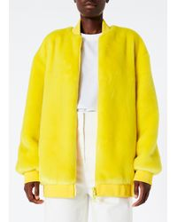 Tibi Yellow Luxe Faux Fur Track Jacket