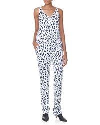 Tibi Blue Cheetah On Hammered Satin V-neck Cami