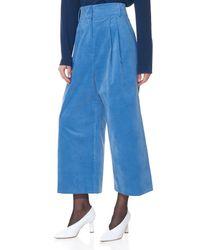 Tibi Blue Moleskin Bianca Cropped Pants