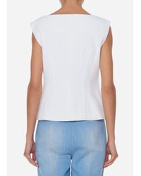 Tibi - White Drape Twill Sleeveless Corset Top - Lyst