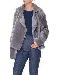 Tibi Gray Shearling Aviator Jacket