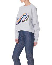 Tibi Gray Taylor Cropped Sweatshirt