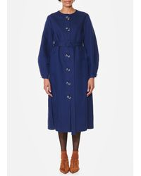 Tibi Blue Chassis Lantern Sleeve Dress With Removable Neck Piece