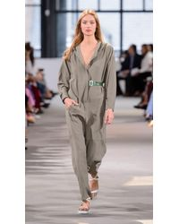 Tibi - Green Hoodie Jumpsuit With Open Back - Lyst